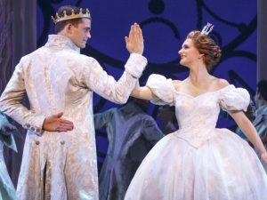 The Prince (Hayden Stanes) and Cinderella (Tatyana Lubov) meet at the ball. (Photo by Carrol Rosegg)