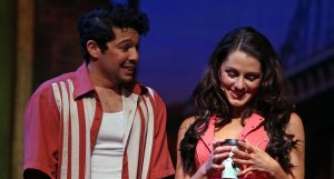 Joseph Miranda (Usnavi) with Sarah Wintermeyer (Vanessa). (Photo by Jeff Thomas)