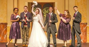 """Gabrielle Graham, Tim Dolan, Erica Lustig, Taylor Hilt Mitchell, Cindy Pearce and Alexander Zenoz in """"It Shoulda Been You."""" (Photo by George Schiavone)"""