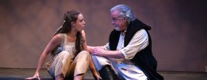 "Payton Smith as Miranda responds to Danny Bowen as her father Prospero in ""The Tempest."" (Photo by Cat Landrum)"
