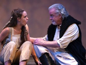 Payton Smith as Miranda responds to Danny Bowen as her father Prospero in
