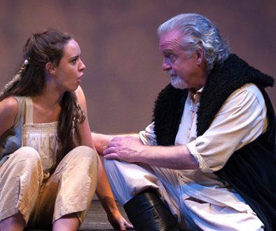Payton Smith as Miranda responds to Danny Bowen as her father Prospero in