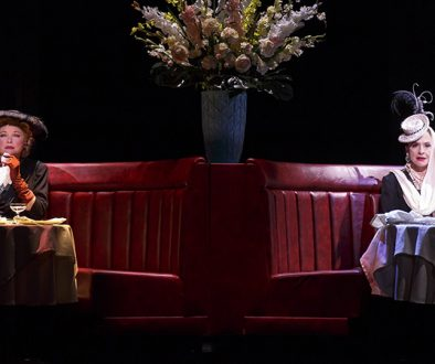 Christine Ebersole, left, as Elizabeth Arden and Patti LuPone as Helena Rubinstein. (Photo by Joan Marcus)