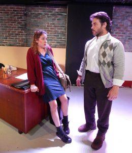 "John (Todd Bruno) attempts to intimidate Carol (Sara Elizabeth Grant) in ""Oleanna."" (Photo by Carol Kassie)"