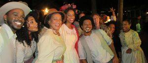"The cast of ""Treemonisha"" with principals Kenya Jackson and Preston Mouton, center, and Opera Creole director Giovanna Joseph, third from left. (Photo by Alan Smason)"