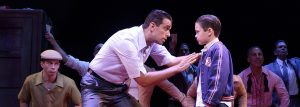 "Sonny (Nick Cordero) tries to get young Calogero (Will Coombs) on his side in the Broadway production of ""A Bronx Tale."" (Photo: Joan Marcus)"