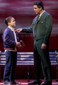 "Young Calogero (Will Coombs) listens to the advice of his father, Lorenzo (Richard H. Blake) in Broadway's ""A Bronx Tale."" (Photo: Joan Marcus)"
