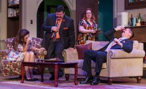 """""""The Female Odd Couple"""" with Jessie Terrebonne (Florence), Sean Patterson (Manolo), Cammie West (Olive)and Gary Rucker (Jesus). (Photo by John Barrois)"""