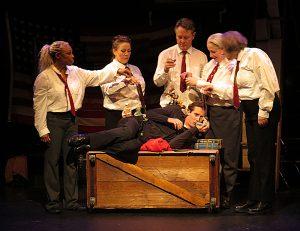 (L-R): Valois Mickins, Sarah Lafferty, Ben Watts, Deborah Beshaw-Farrell, Michelle Beshaw. Below: Jeffrey Roth as Oswald. (Photo by Jonathan Slaff)