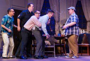 Poker game antics with Kyle Daigrepont (Vinnie), Steve Smith (Murray), Peter Webb (Speed), Gary Rucker (Felix) and Sean Patterson (Oscar). (Photo by John Barrois)