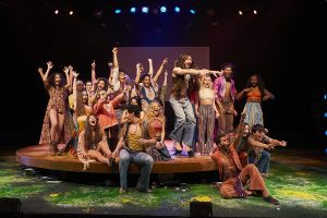 """The cast of """"Hair: The American Tribal Love-Rock Musical"""" at Beck Center for the Arts. (Photo by Roger Mastroianni)"""