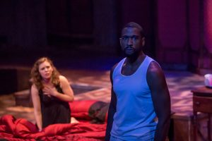 """William Oliver Watkins as Othello and Courtney Lucien as Desdemona in Cincy Shakes' production of """"Othello."""" (Photo by Mikki Schaffner Photography)"""