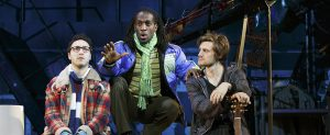 """Rent"" 20th Anniversary Tour members (from left) Sammy Ferber, Marcus John, Kaleb Wells (Photo by Carol Rosegg)"