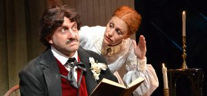 """Gregg Weiner is Edgar Allan Poe and Margery Lowe is Emily Dickinson in the play """"Edgar and Emily."""" (Photo by Samantha Mighdoll"""