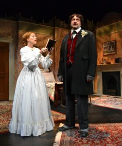 """A fictional encounter between Emily Dickinson (Margery Lowe) and Edgar Allan Poe (Gregg Weiner) defines the play """"Edgar and Emily"""" by Joseph McDonough. (Photo by Samantha Mighdoll)"""