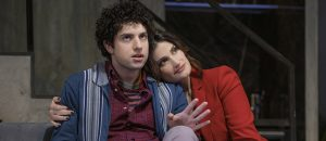 """Eli Gelb and Idina Menzel in """"Skintight"""" now playing at the Laura Tells Theatre. (Photo by Joan Marcus)"""