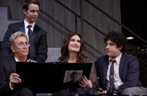 """Jack Wetherall, Will Brittain, Indina Menzel and Eli Gelb in """"Skintight."""" (Photo by Joan Marcus)"""