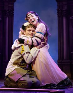 Andrew Durand as Musidorus and Alexandra Socha as Philoclea. (Photo by Joan Marcus)