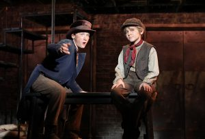 The Artful Dodger (Gavin Swartz) and Oliver (Elijah Rayman) appear in a scene from the Goodspeed production. (Photo by Diane Sobolewski)