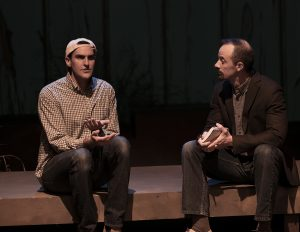 "Eli Timm, left, with Matt Reed as Moises Kaufman in a scene from ""The Laramie Project."" (Photo by Todd Taylor)"