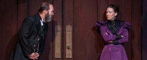 "Torvald (Trey Burvant) reacts to the return of Nora (Jessica Podewell) in ""A Doll's House, Part 2."" (Photo by John Barrois)"