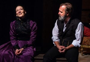 Nora (Jessica Podewell) reflects on her life without her husband Torvald (Trey Burvant). (Photo by John Barrois)