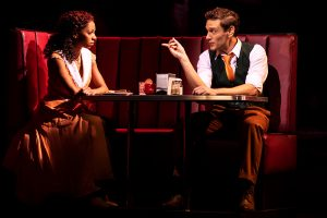 Carl Denham (Eric William Morris), right, propositions Ann Darrow (Christiani Pitts) in a New York City diner. (Photo by Michael Murphy)