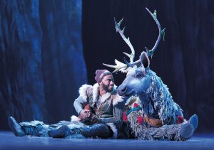 "Kristoff (Jelani Aladdin) and Sven (Andrew Pirozzi) pal around in the cold world of ""Frozen."" (Photo by Deen van Meer)"