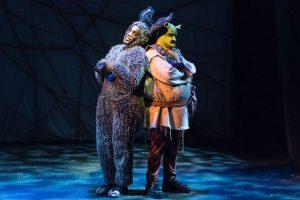 Donkey (Remel Bowens) befriends Shrek (Gilgamesh G. A. Taggett). (Photo by Andy Dudik