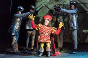 "Lord Farquaad (Brian Altman) is not a small role in ""Shrek: The Musical. (Photo by Andy Dudik)"