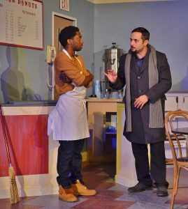 Tension unfolds during a scene between Franco Wicks (Roderick Randle) and Luther Flynn (Daniel Nieves). (Photo by Dennis Lyzniak)
