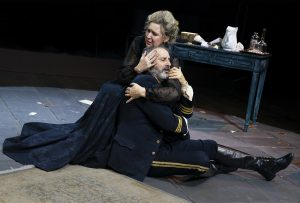 """Cassie Beck and Richard Topol as a married couple in """"The Dance of Death."""" (Photo by Joan Marcus)"""