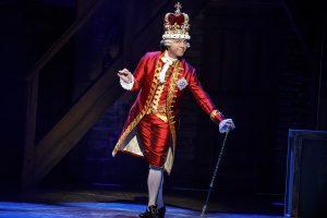 """Jon Patrick Walker as King George in """"Hamilton."""" (Photo by Joan Marcus)"""