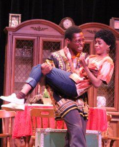 Joseph Asagi (Martin Bradford) with Beneatha (Ebony Duely Johnson). (Photo by Peter Nakhid)