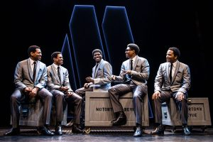 (From left): Derrick Baskin, Jeremy Pope, Jawan M. Jackson, Ephraim Sykes and James Harnkness. (Photo by Matthew Murphy)