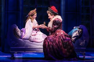 Victoria Bingham as Little Anastasia and Joy Franz as her grandmother, the Dowager Empress, share a touching moment in the national touring production of the Broadway musical, Anastasia. (Photo by Matthew Murphy)