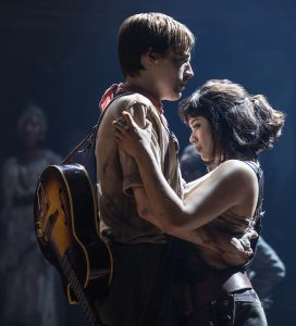 "Orpheus (Reeve Carney) finds Eurydice (Eva Noblezada) in ""Hadestown.""(Photo by Matthew Murphy)"