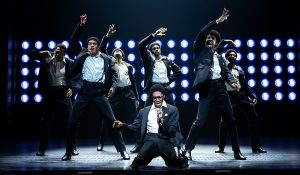 "Ephraim Sykes, center, as David Ruffin leads the other Temptations in ""Ain't Too Proud."" (Photo by Matthew Murphy)"