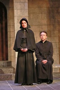Jessica Sanford as Sister James and Terry Hardcastle as Father Flynn. (Photo by Alberto Romeu)