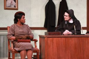 Rita Joe as Mrs. Miller (changed for this production from Mrs. Mueller) and Laura Turnbull as Sister Aloysius. (Photo by Alberto Romeu)