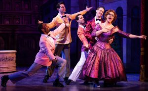 Santino Fontana, right, with cast members. (Photo by Matthew Murphy)