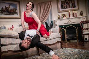 "Laura Hodos as Veronica Fairchild and Ben Sandomir as Phillip Wilder in ""Veronica's Position."" (Photo by George Wentzler)"