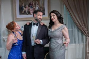 From left, Christina Groom as Mallory Dascomb, Ben Sandomir as Philip Wilder and Laura Hodos as Veronica Fairchild. (Photo by George Wentzler)