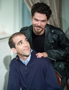 Jordon Armstrong as Ezekiel Barrows North (standing) and Stephen Kaiser as Alan Croft. (Photo by George Wentzler)