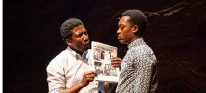 "James Udom and Ato Blankson-Wood as siblings Joe and Dembe in Lincoln Center Theater's ""The Rolling Stone."" (Photo by Jeremy Daniel)"