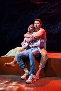"Ato Blankson-Wood and Robert Gilbert as Dembe and Sam in Lincoln Center Theater's ""The Rolling Stone."" (Photo by Jeremy Daniel)"