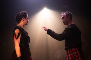 The titular character (Seth Trucks) makes a point to his wife, Lady Macbeth (Laura Plyler). (Photo by Ryan Arnst)