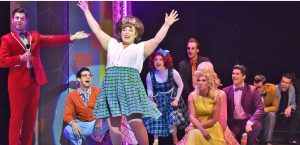 Tracy Turnblad (Adee David), center, introduces herself as the newest dancer on the Corny Collins Show in Beef & Boards Dinner Theatre's production of Hairspray, now on stage through Oct. 6. (Photo courtesy Beef and Boards)