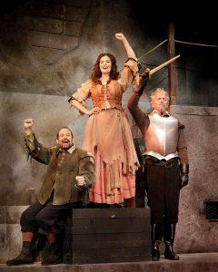 Mark Kirschenbaum (Sancho), Anna Lise Jensen (Aldonza), Michael McKenzie (Don Quixote). (Photo by Jacek Photo)