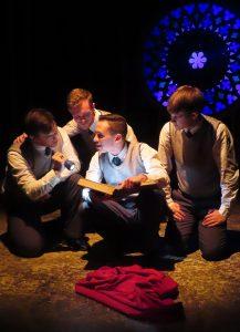 "Cast members Stars of ""Shakespeare's R&J"": John P. Cox, Zach Palumbo, Michael Emery Fox and Joe Soriano (Photo by Eva Nel Brettrager)"